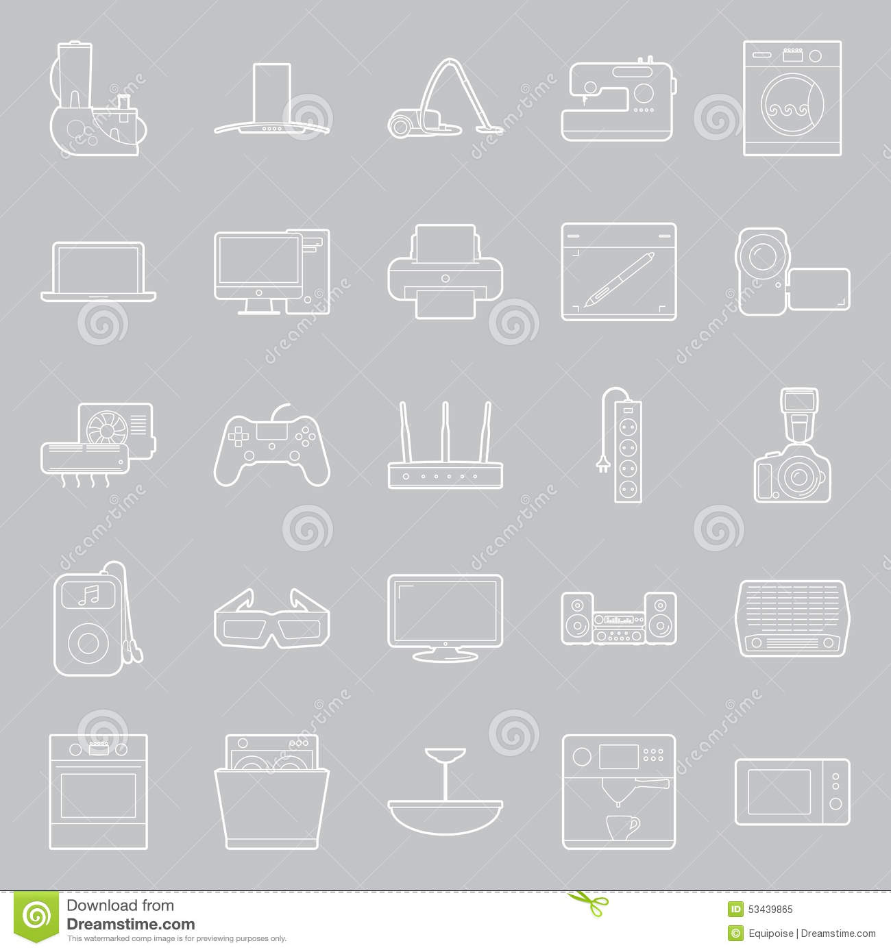 Home Electrical Appliances Thin Lines Icon Set Stock