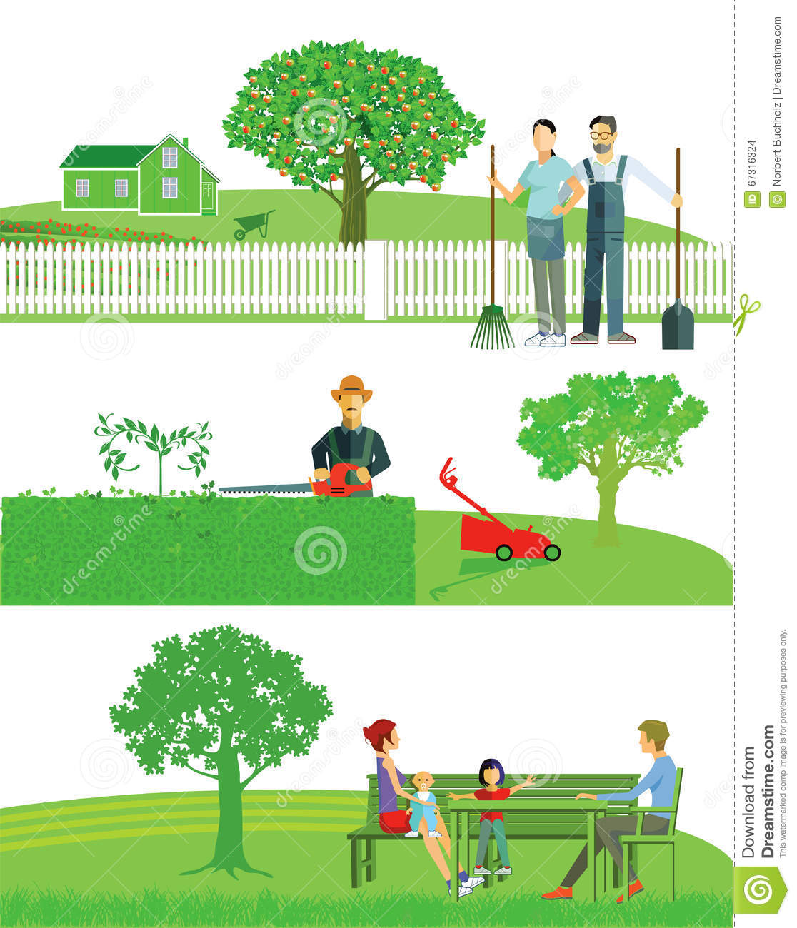 Gardening As Leisure Activity And Useful Hobby Promotion Logo Cartoon Vector