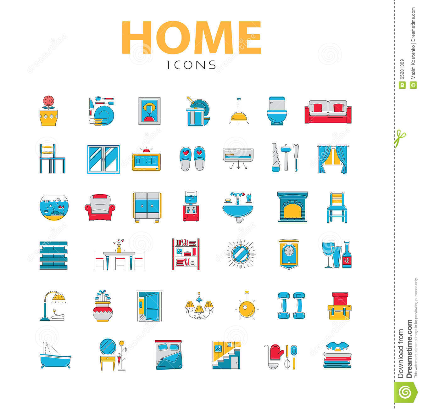 Home Icons House Related Objects Vector Icons In Color