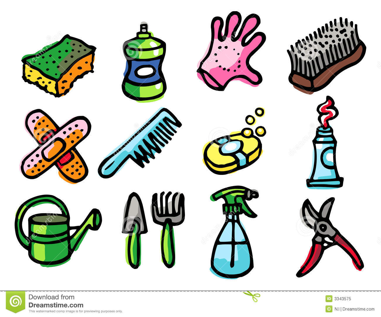 Home Objects Icons Stock Vector Illustration Of Sponge