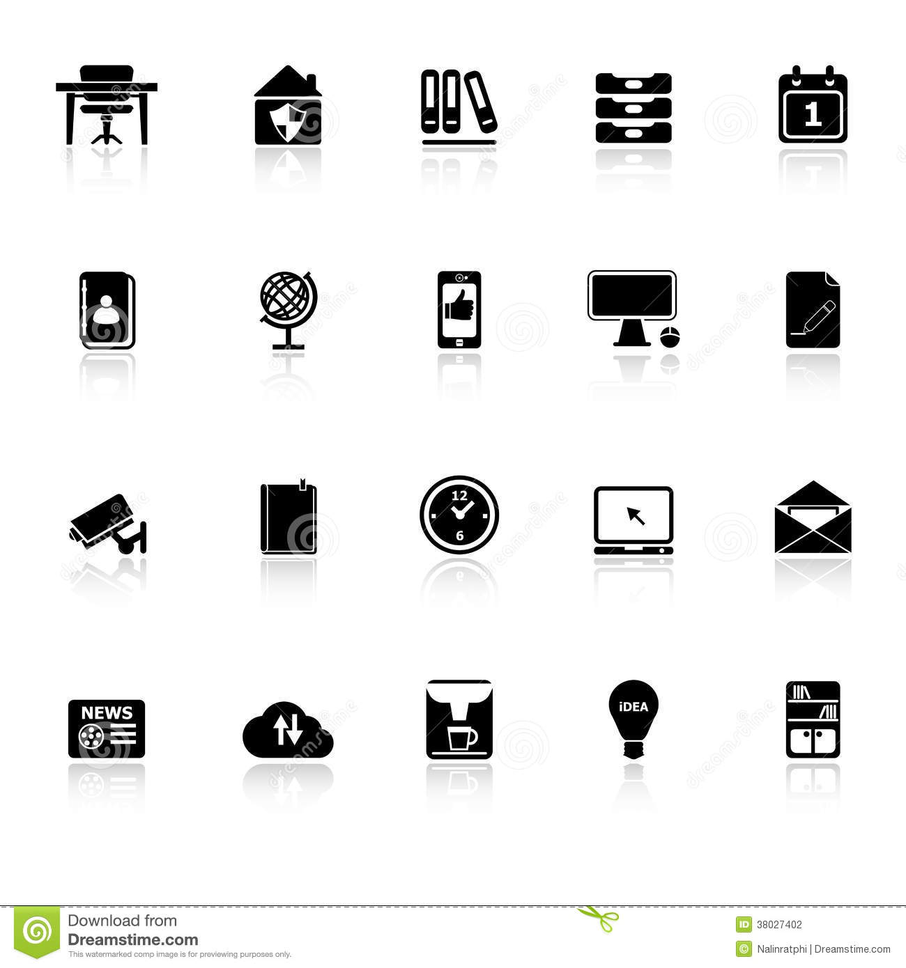 Home Office Icons With Reflect On White Background Stock