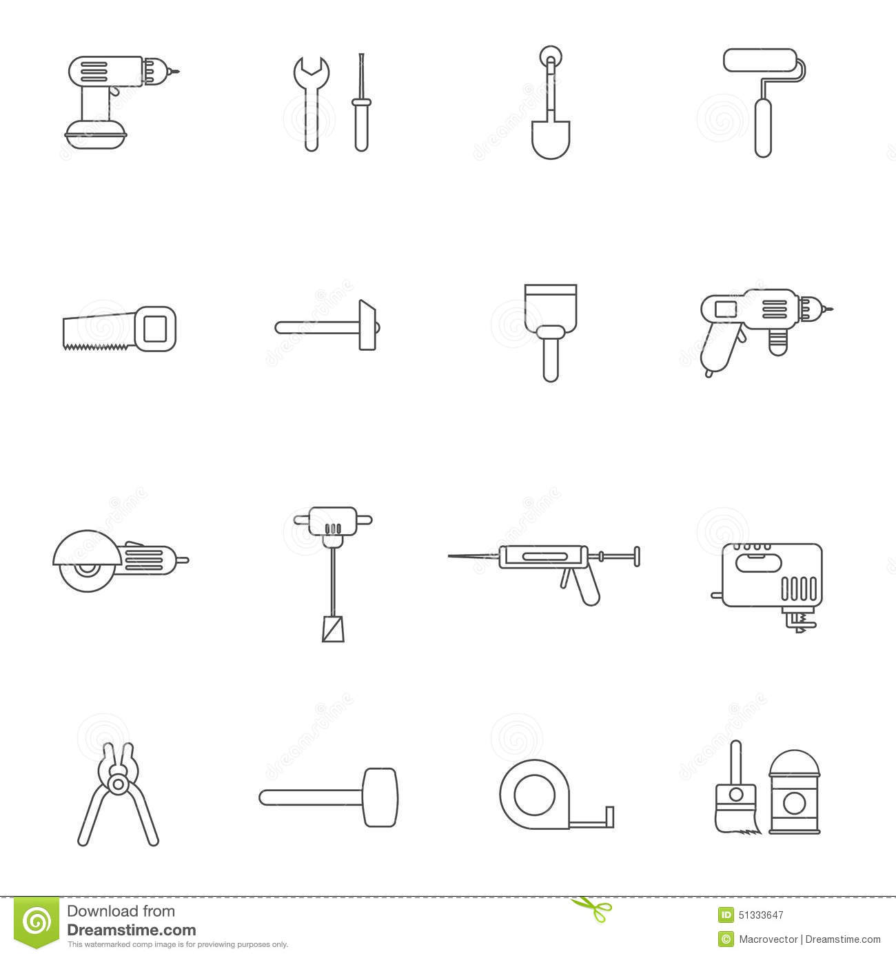 Home Repair Tools Icon Flat Stock Vector