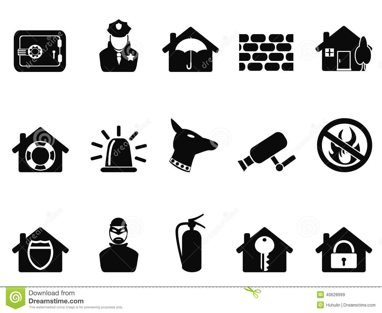 Home Security Icons Set Stock Vector