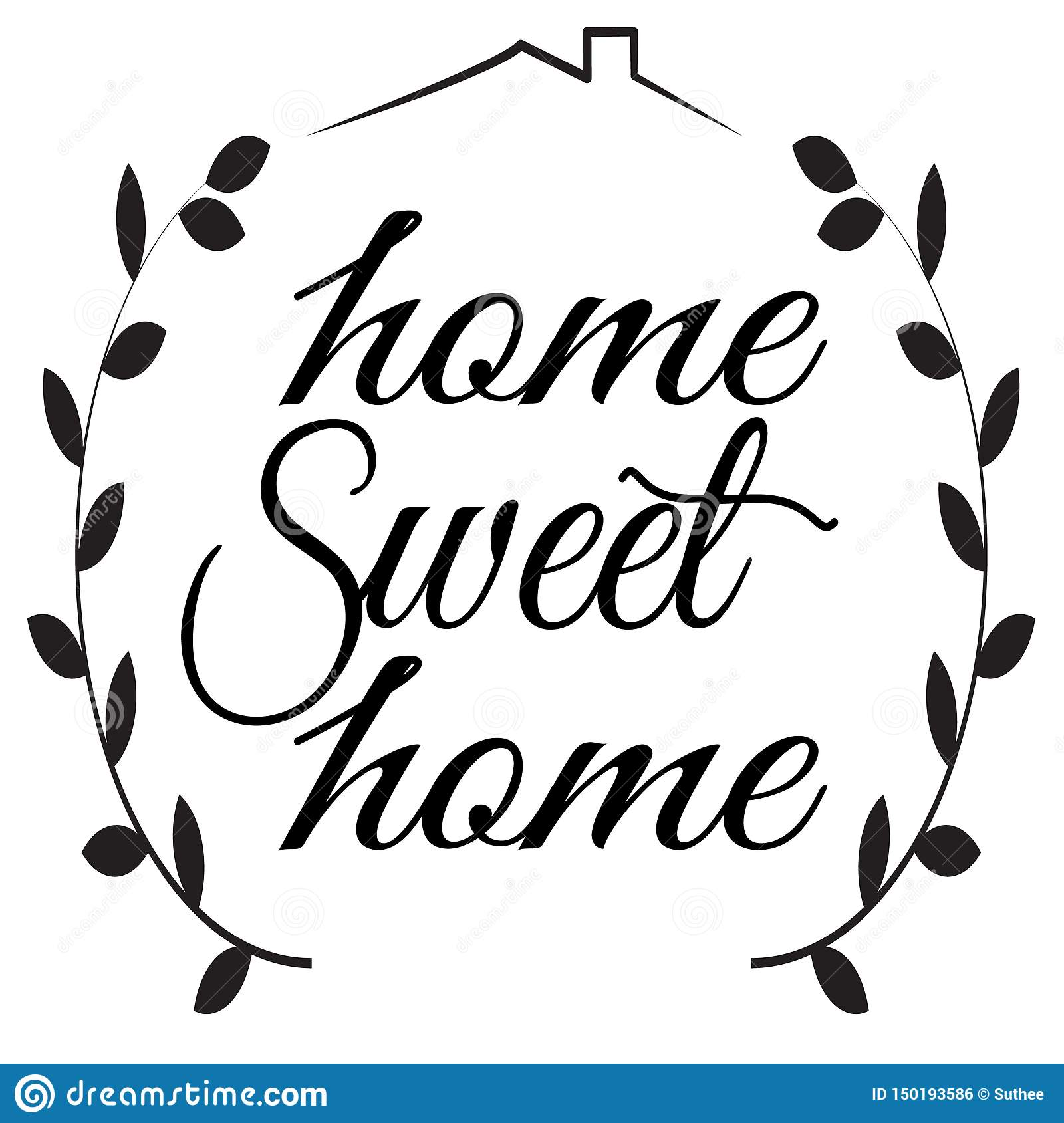 Home Sweet Home Sign On White Background Flat Style Home
