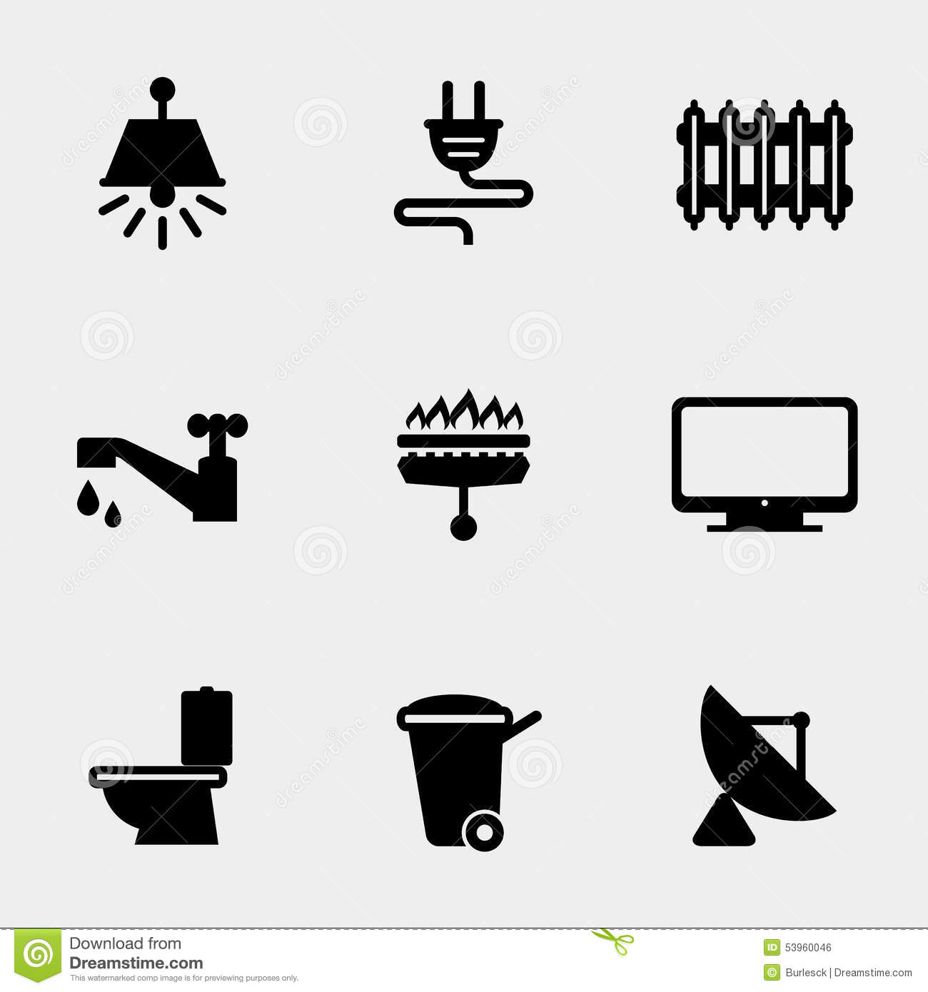 Home Utilities Icons Stock Vector Illustration Of