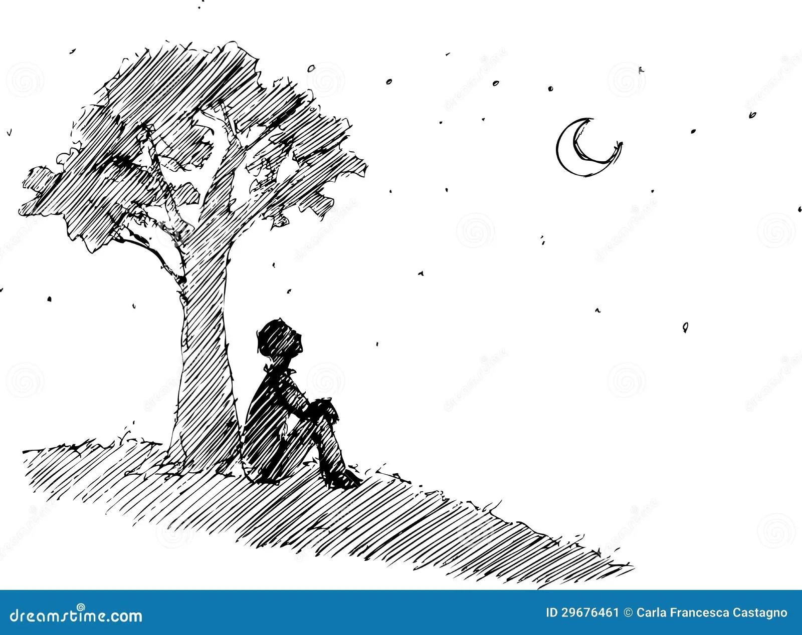 Homem Que Olha A Lua Ilustracao Do Vetor Ilustracao De