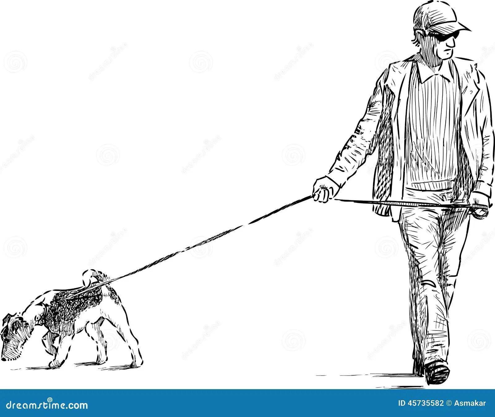 Homme Et Chien Sur Une Promenade Illustration De Vecteur