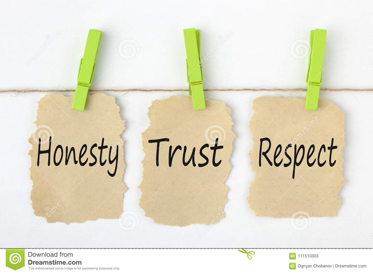 Honesty Trust Respect Concept Stock Image