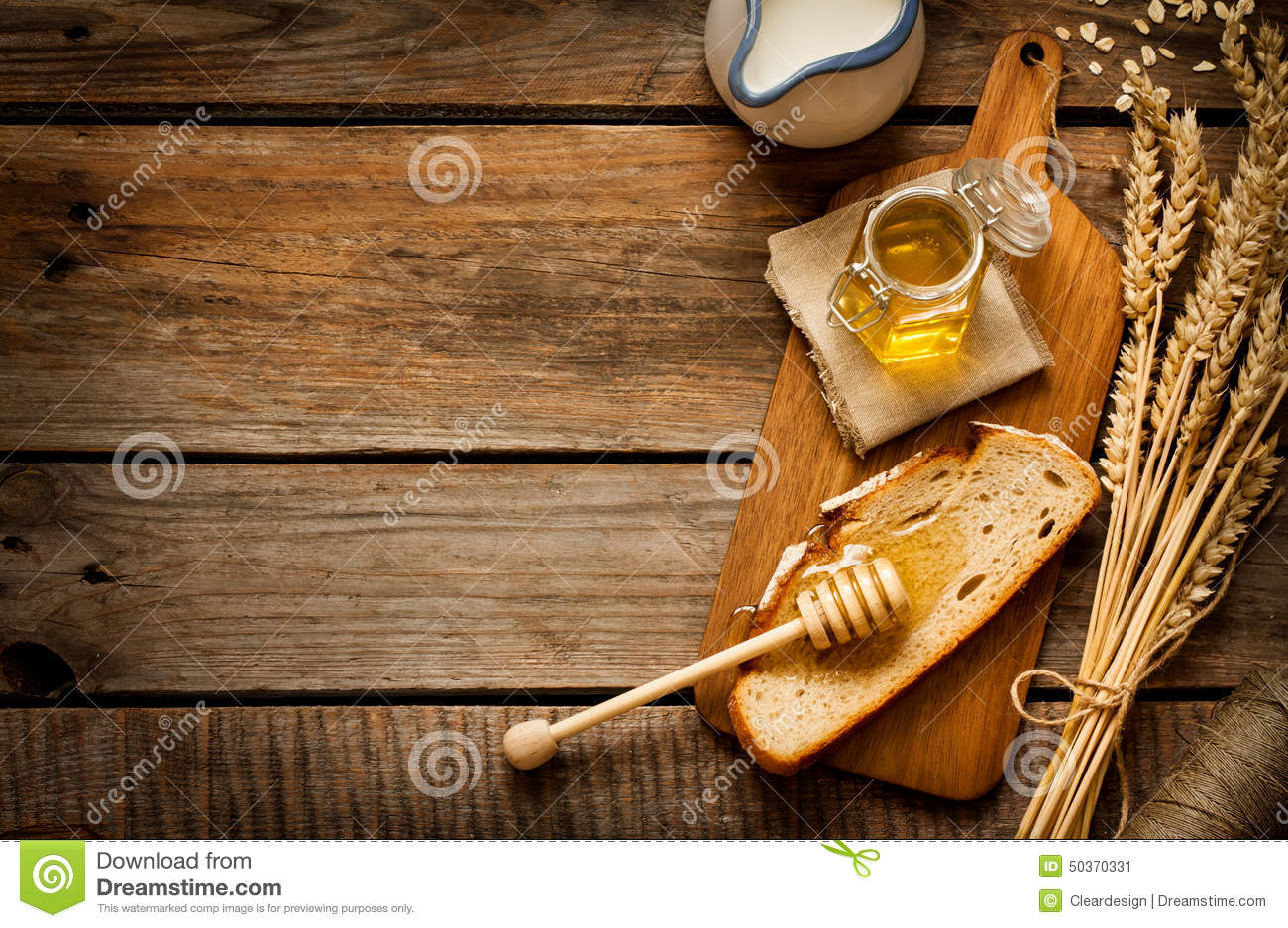 Honey In A Jar Slice Of Bread Wheat And Milk On Vintage Wood Stock Image Image 50370331