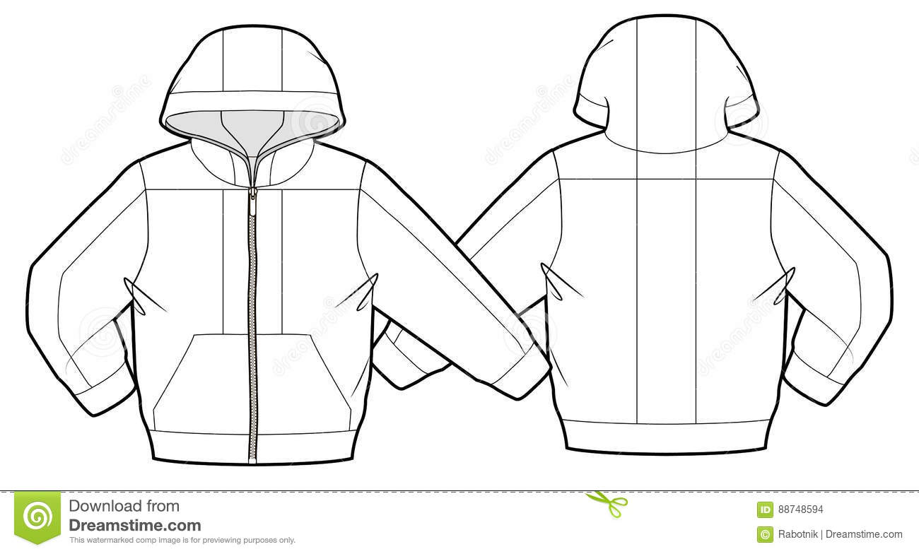 Hooded Jacket With Zipper Closure Stock Vector