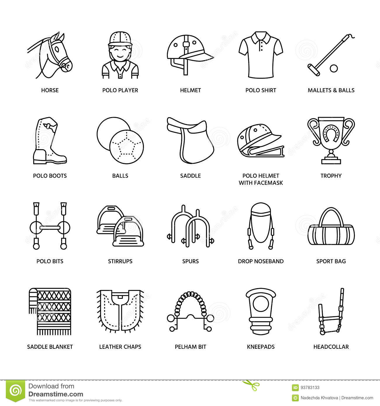 Set Of Vector Horse Equipment Icons Cartoon Vector