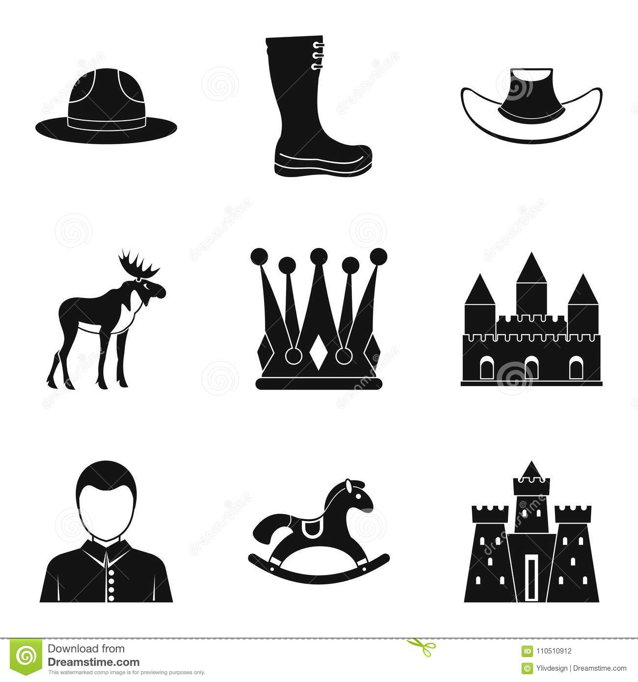 Horse Racing Icons Set Simple Style Stock Vector