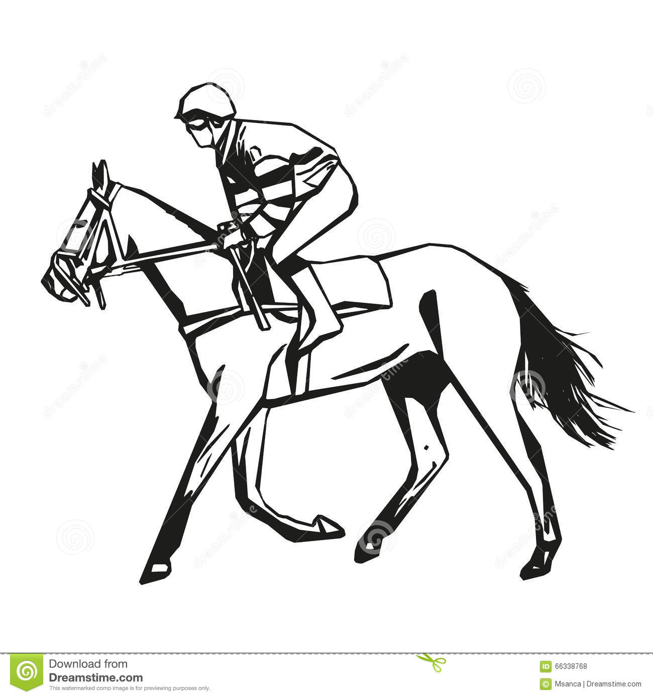 Horse Racing Vector Drawing Stock Vector