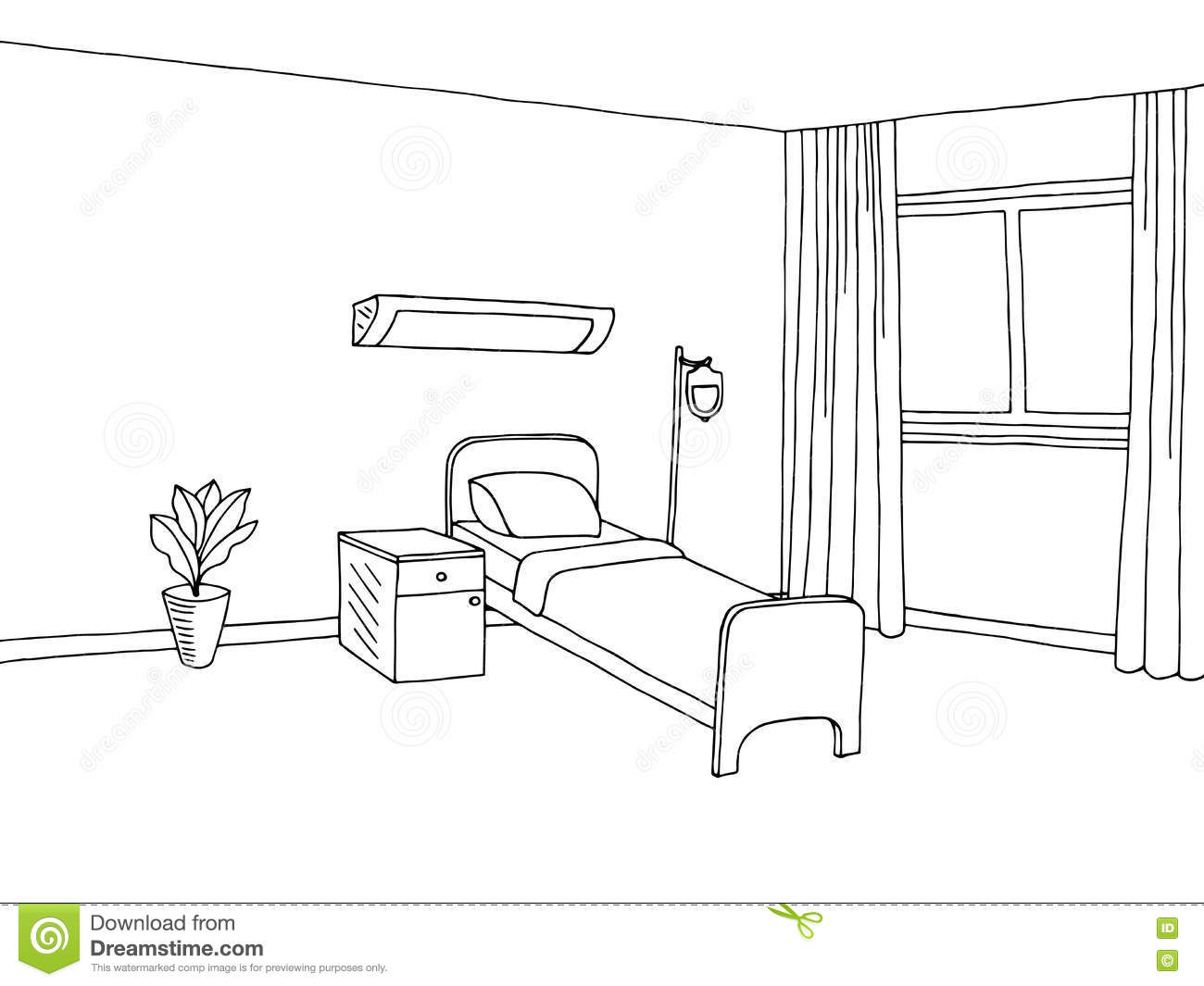 Hospital Ward Clinic Room Interior Graphic Art Black White