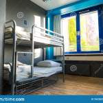 Hostel Interior Metal Bunk Beds And Linen Nobody Stock Image Image Of Campus Modern 156258399