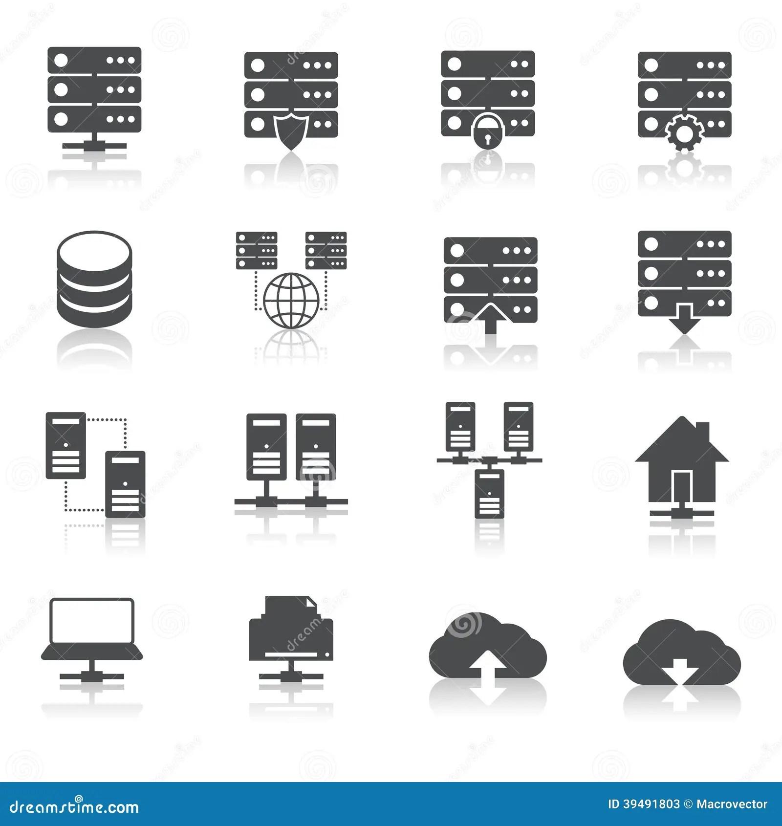 Hosting Technology Pictograms Set Stock Vector