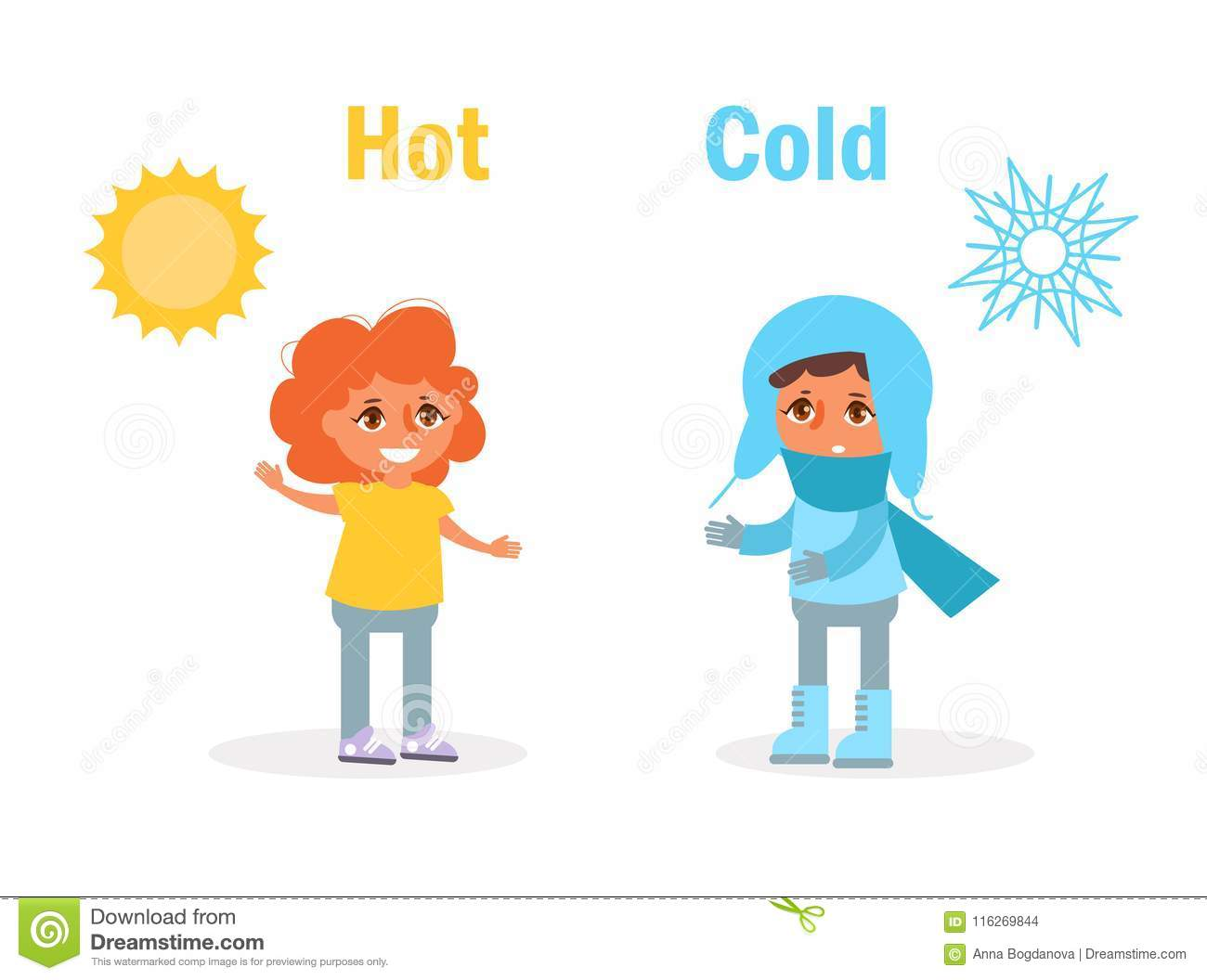 Hot Cold Opposite Stock Vector Illustration Of Human
