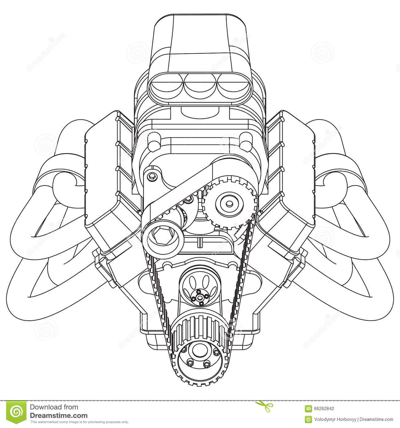Hot Rod Engine Stock Vector Illustration Ofsel