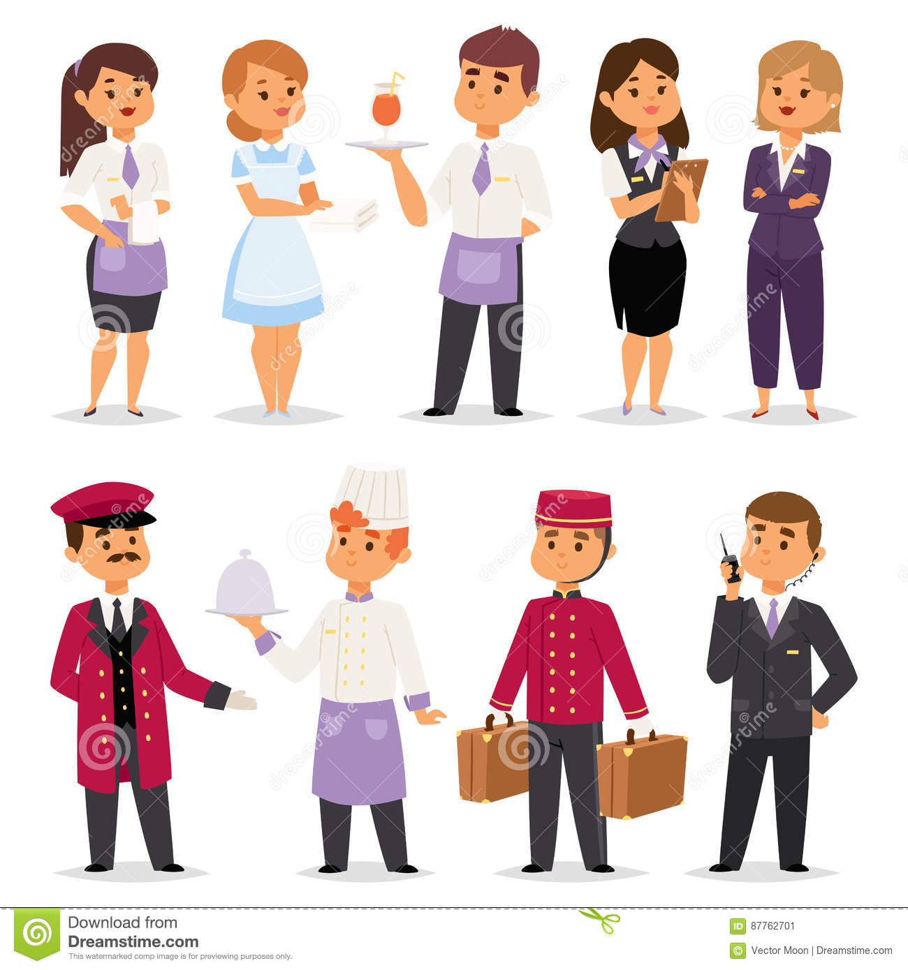 Hotel Professions People Workers Happy Receptionist