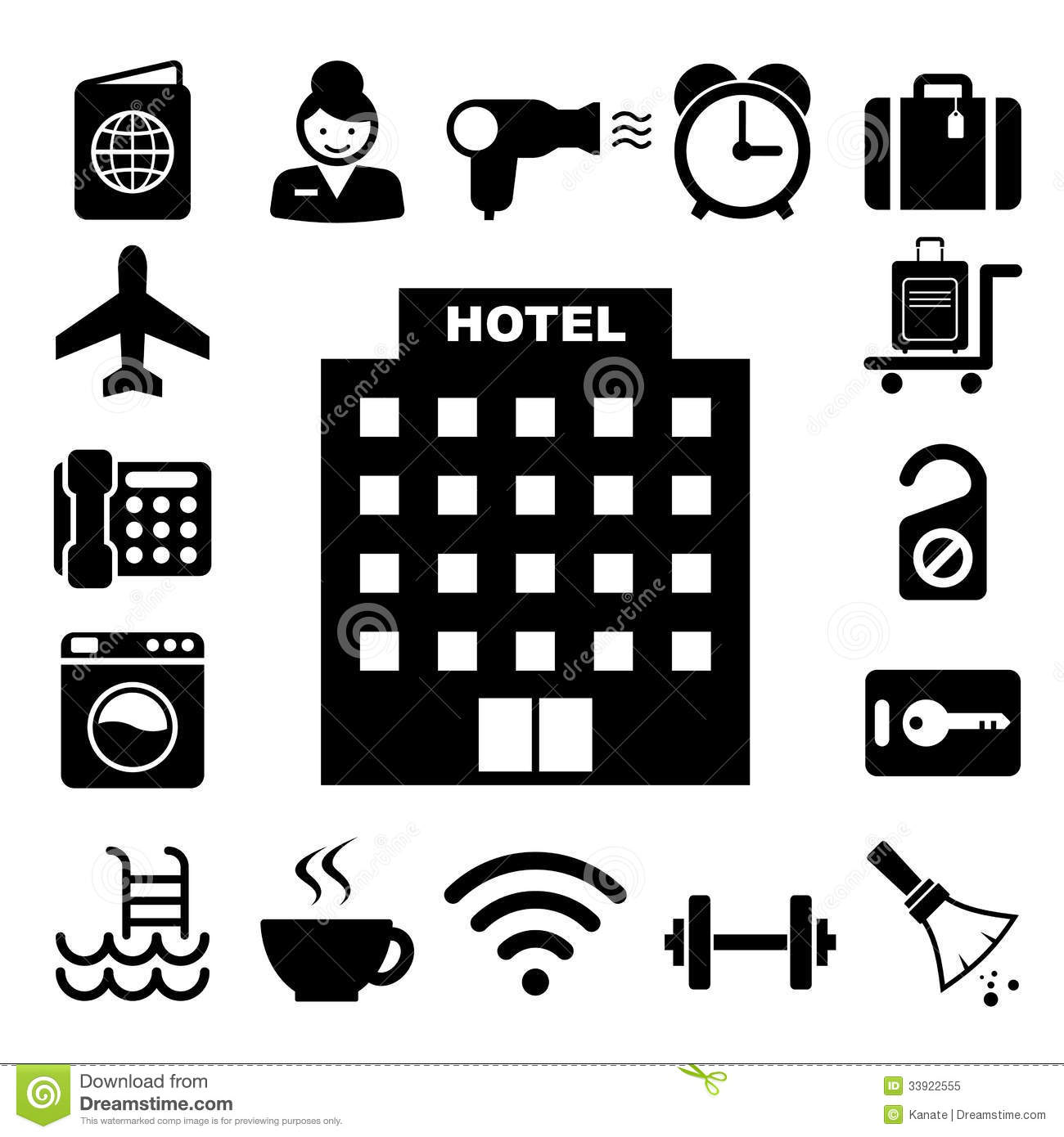 Hotel And Travel Icon Set Stock Vector Illustration Of