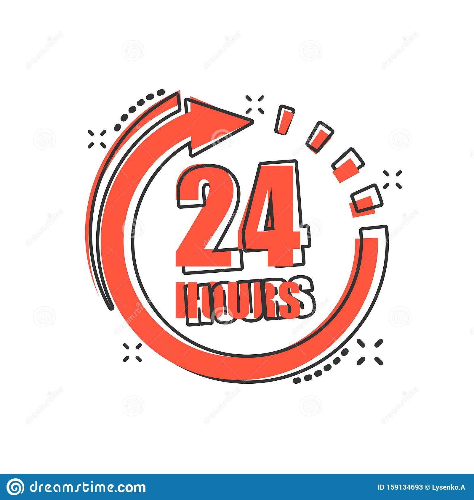 24 Hours Clock Sign Icon In Comic Style Twenty Four Hour