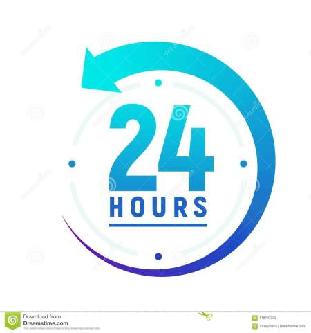 24 Hours A Day Icon. Green Clock Icon Around Work. Service Time Support 24  Hour Per Day Stock Vector - Illustration of round, arrow: 118147332