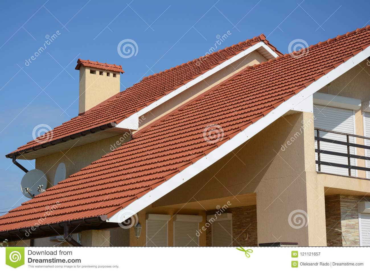 https www dreamstime com house clay tile roof rain gutter chimney gable valley type construction building attic tiles different types designs image121121657