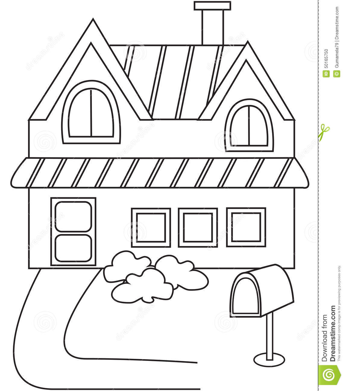 House Coloring Page Stock Illustration Illustration Of