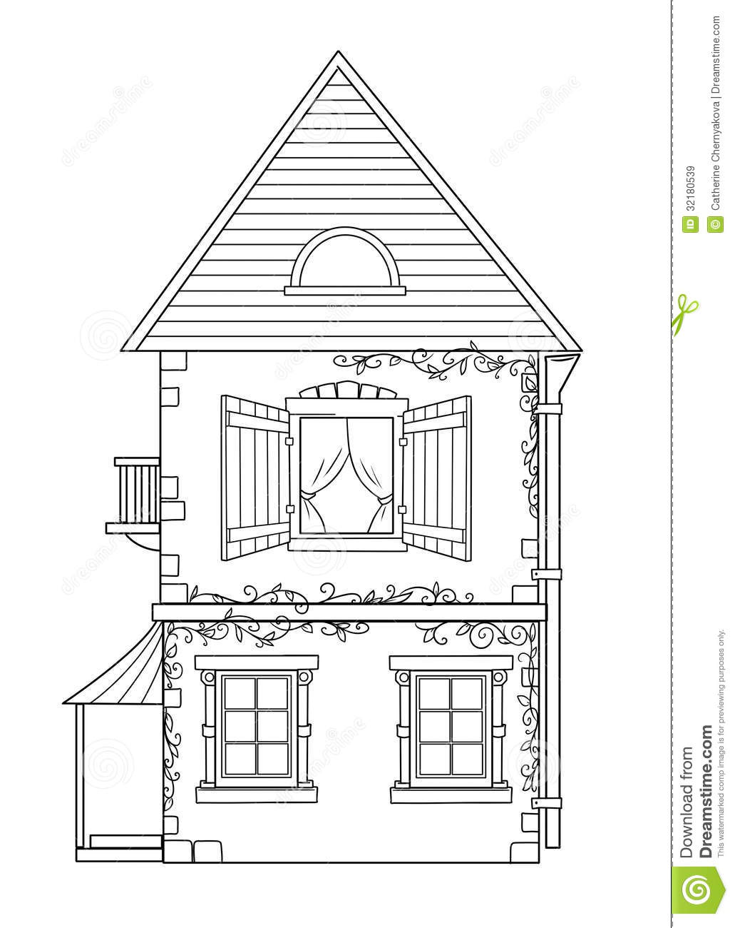 House Coloring Pages Stock Illustration Image Of Image