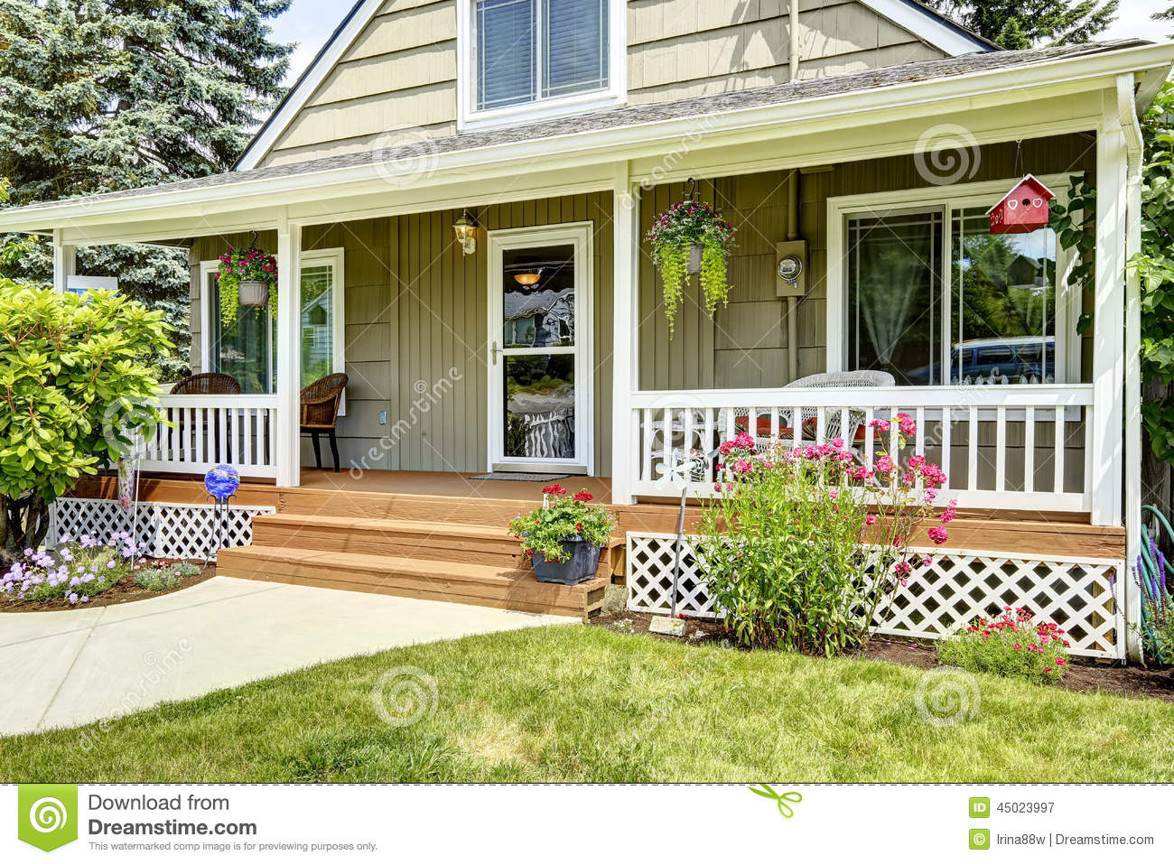 House With Cozy Entrance Porch Stock Image Image Of