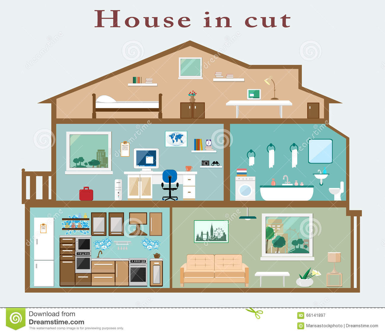 House In Cut Detailed Flat Style Interior Set Of Rooms