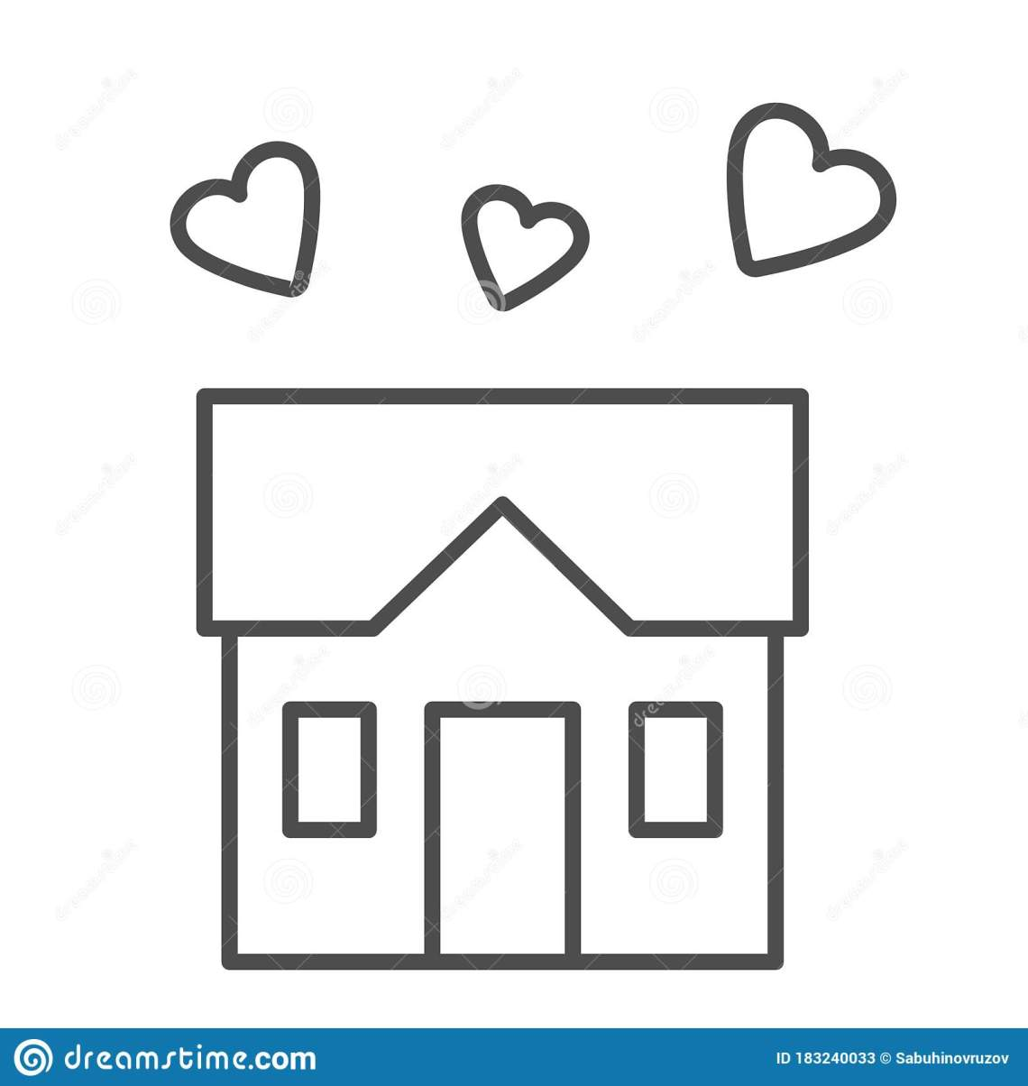 Download House Full Of Love Thin Line Icon, Sweet Home Concept ...