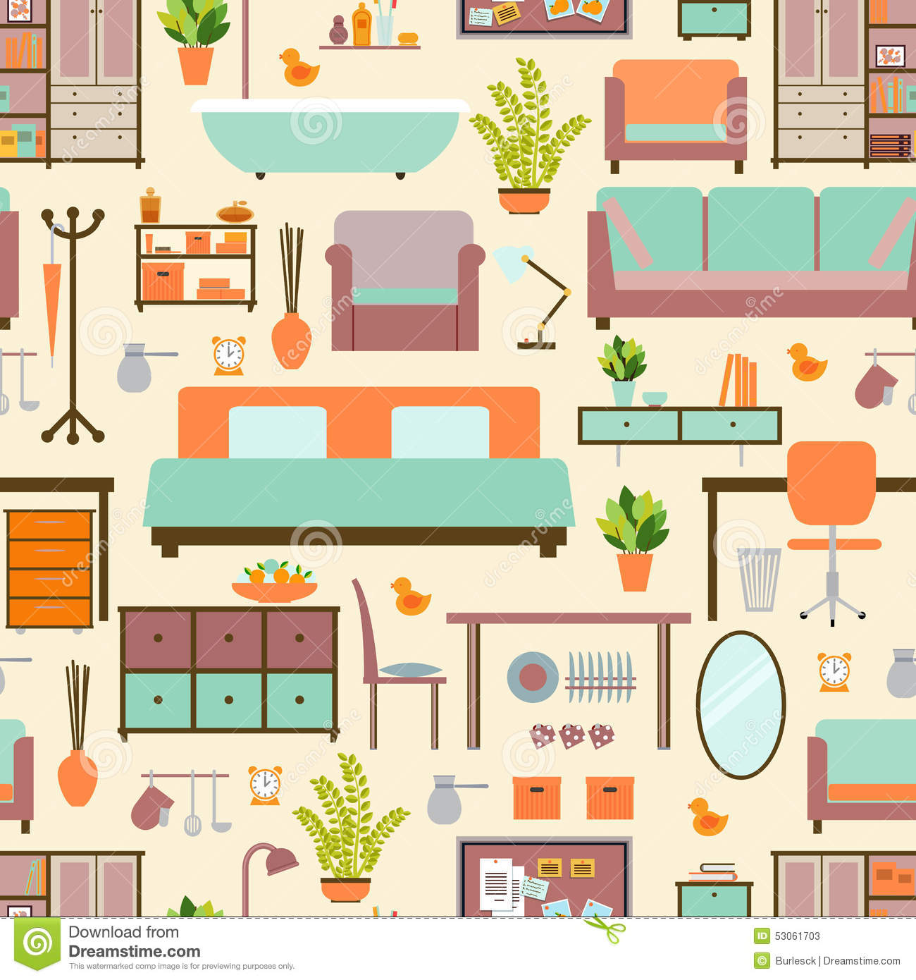 House Furniture Pattern Stock Vector Illustration Of Fashion