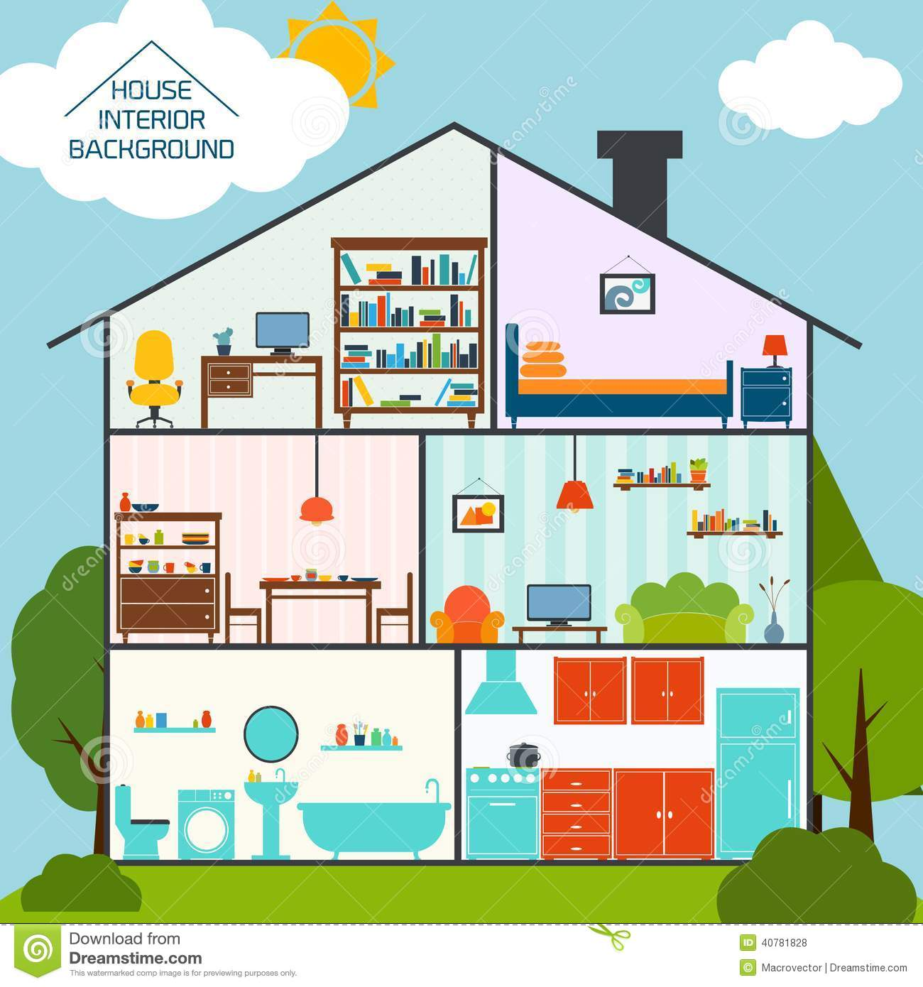 House Interior Background Stock Vector Illustration Of