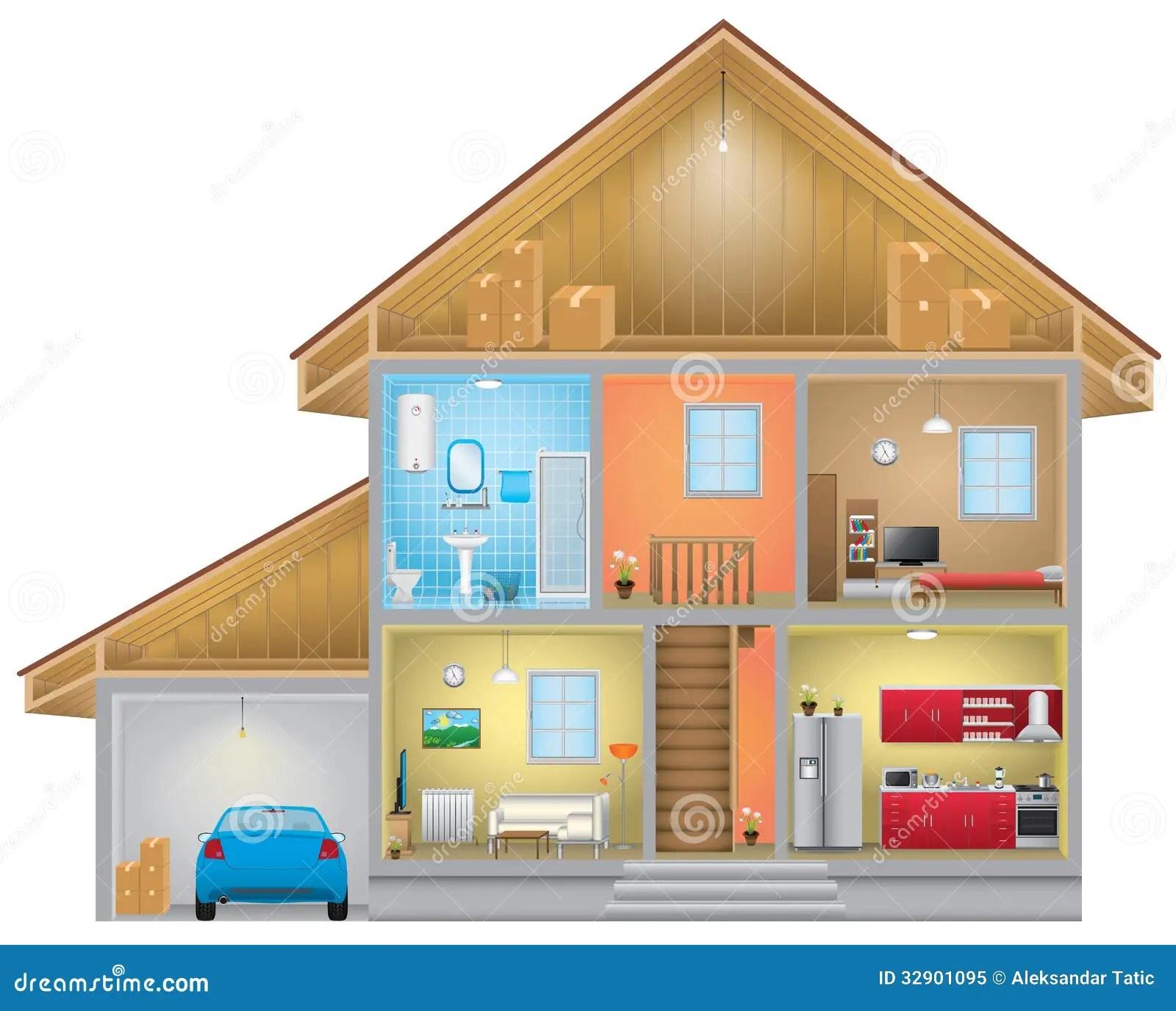 House Interior Stock Vector Illustration Of Blue Plan