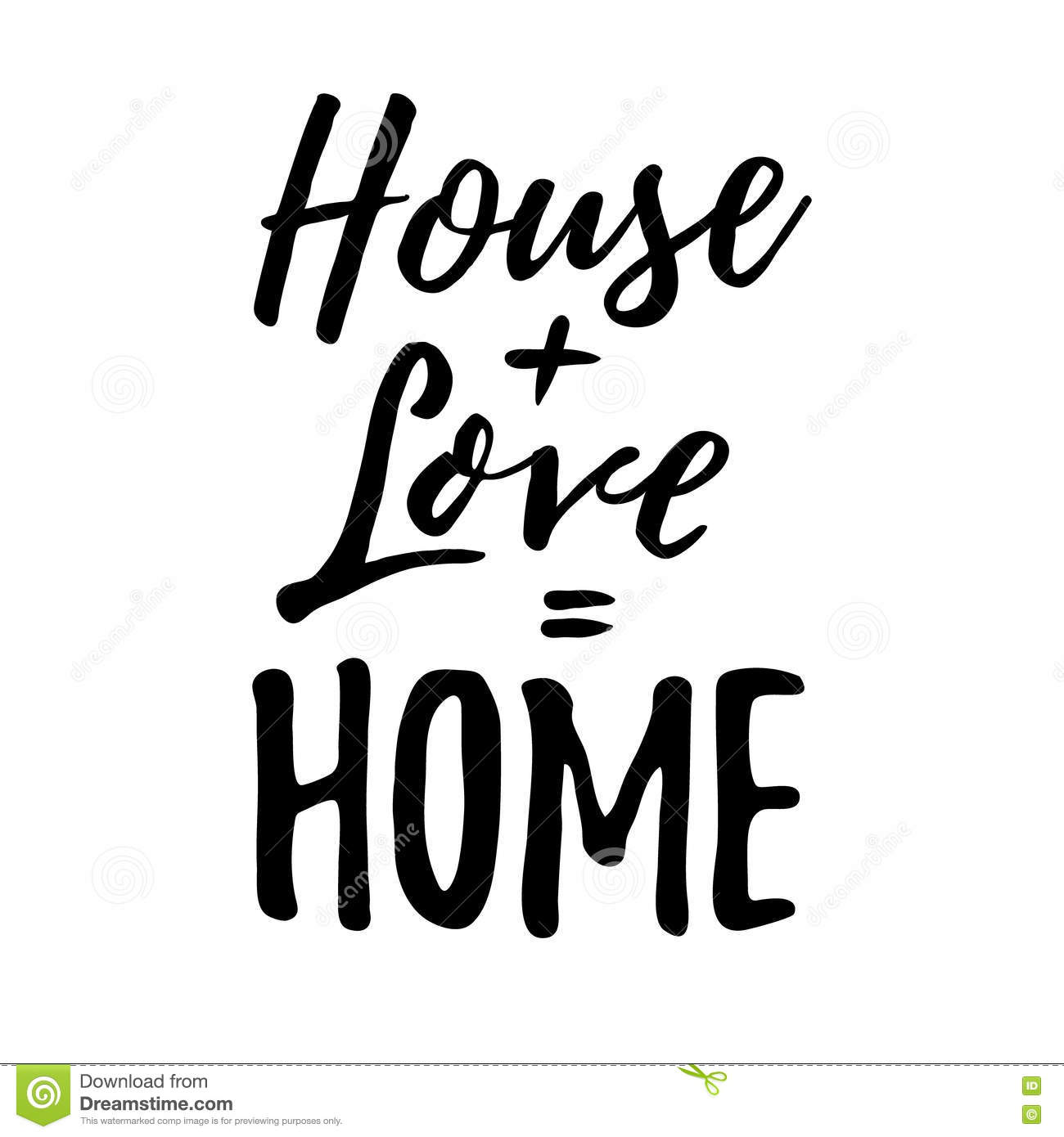 House Love Home Housewarming Lettering Typography Stock