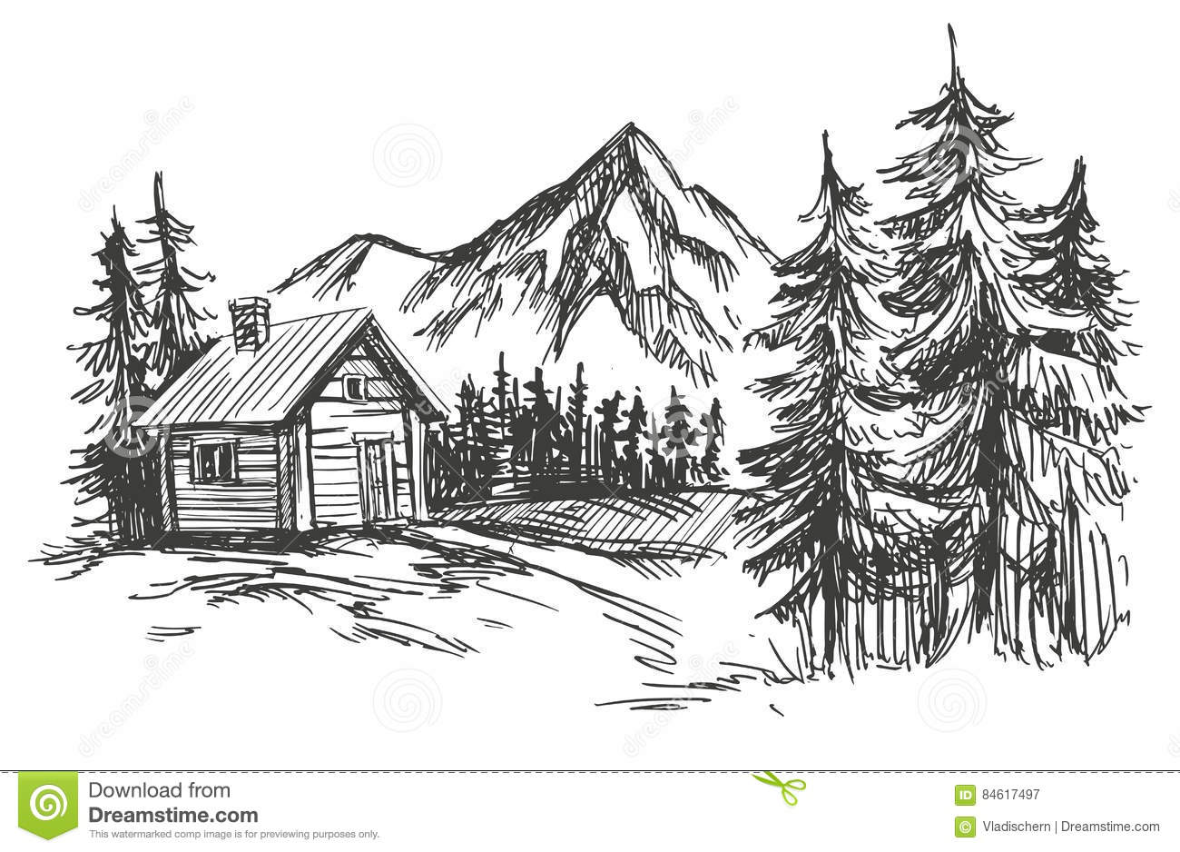 House In Mountain Landscape Hand Drawn Vector Illustration