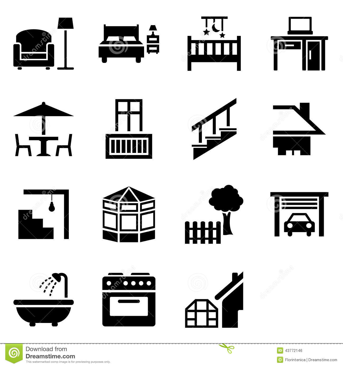 House Parts Icons Stock Vector Image Of Different