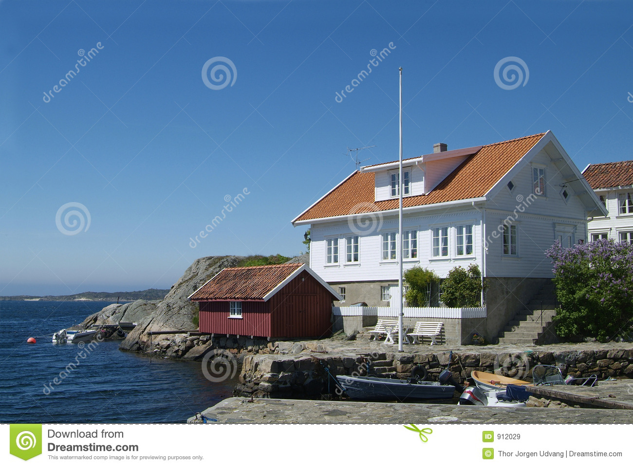 House By The Sea Stock Image Image Of Motor Town Dinghy