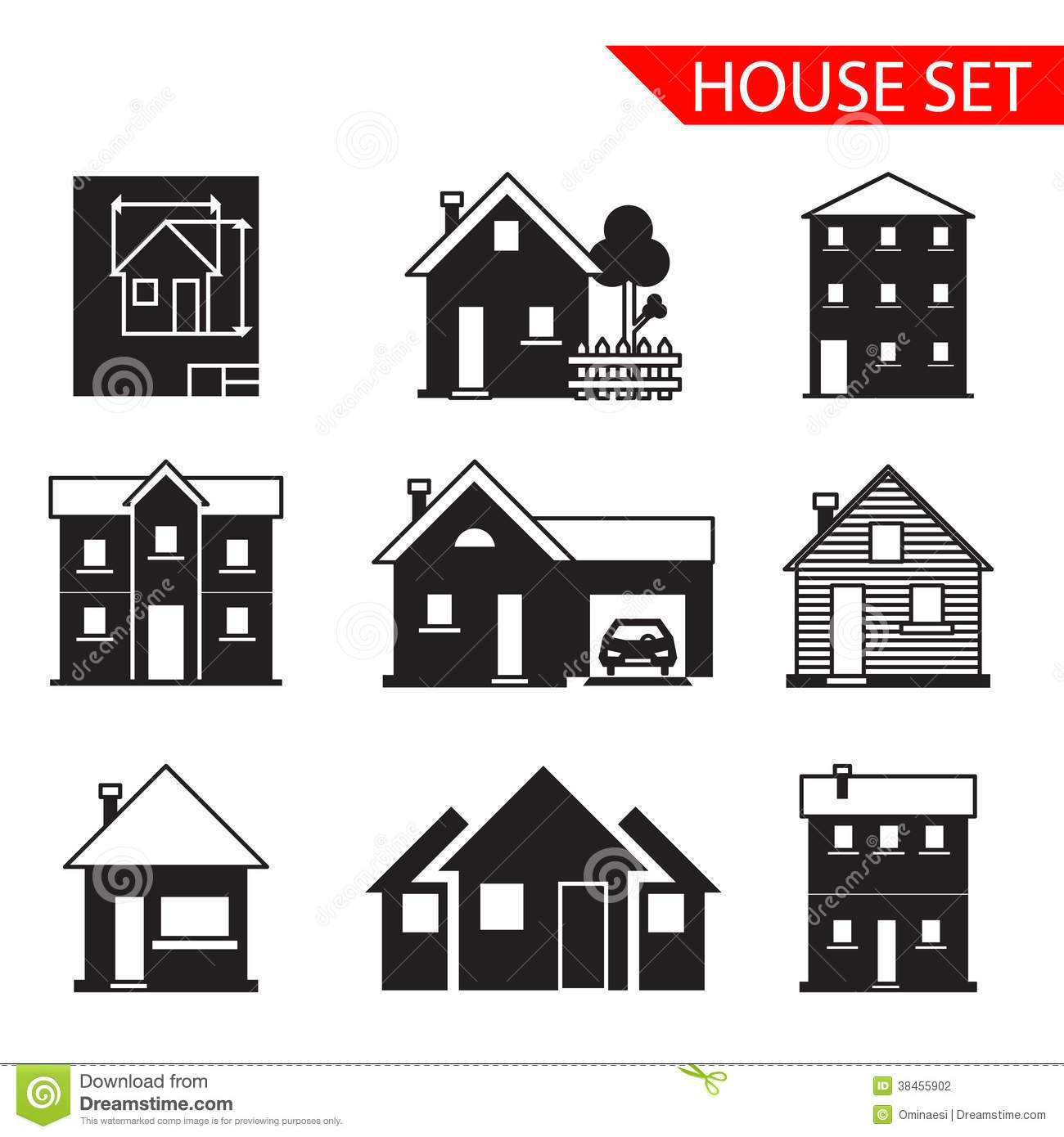 House Silhouette Icons Set Isolated Vector Stock Vector