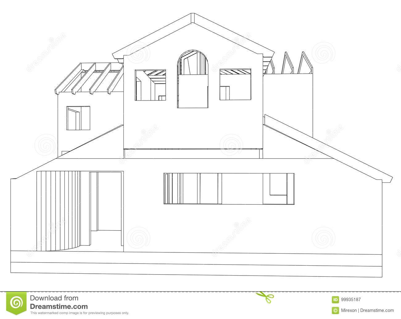 House Structure Architecture Abstract Drawing Tracing