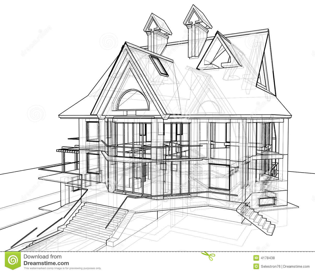 House Technical Draw Stock Illustration Illustration Of