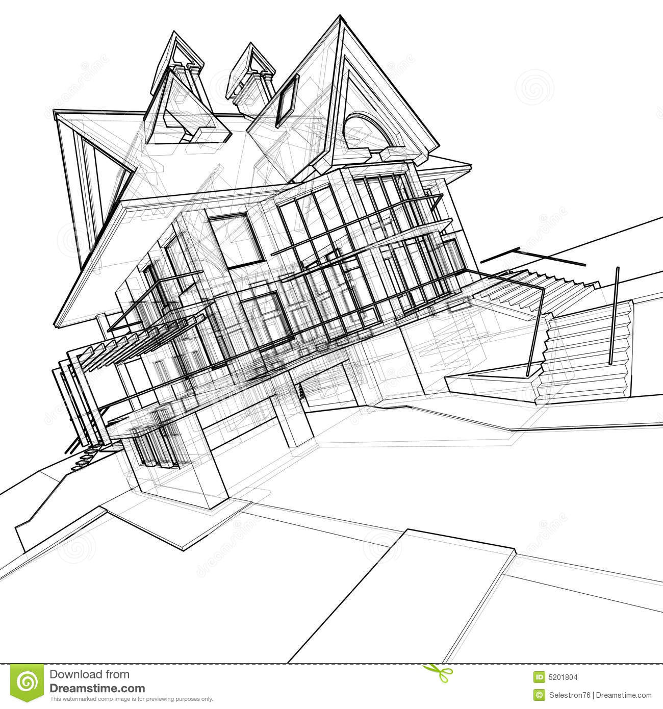 House Technical Draw Stock Images