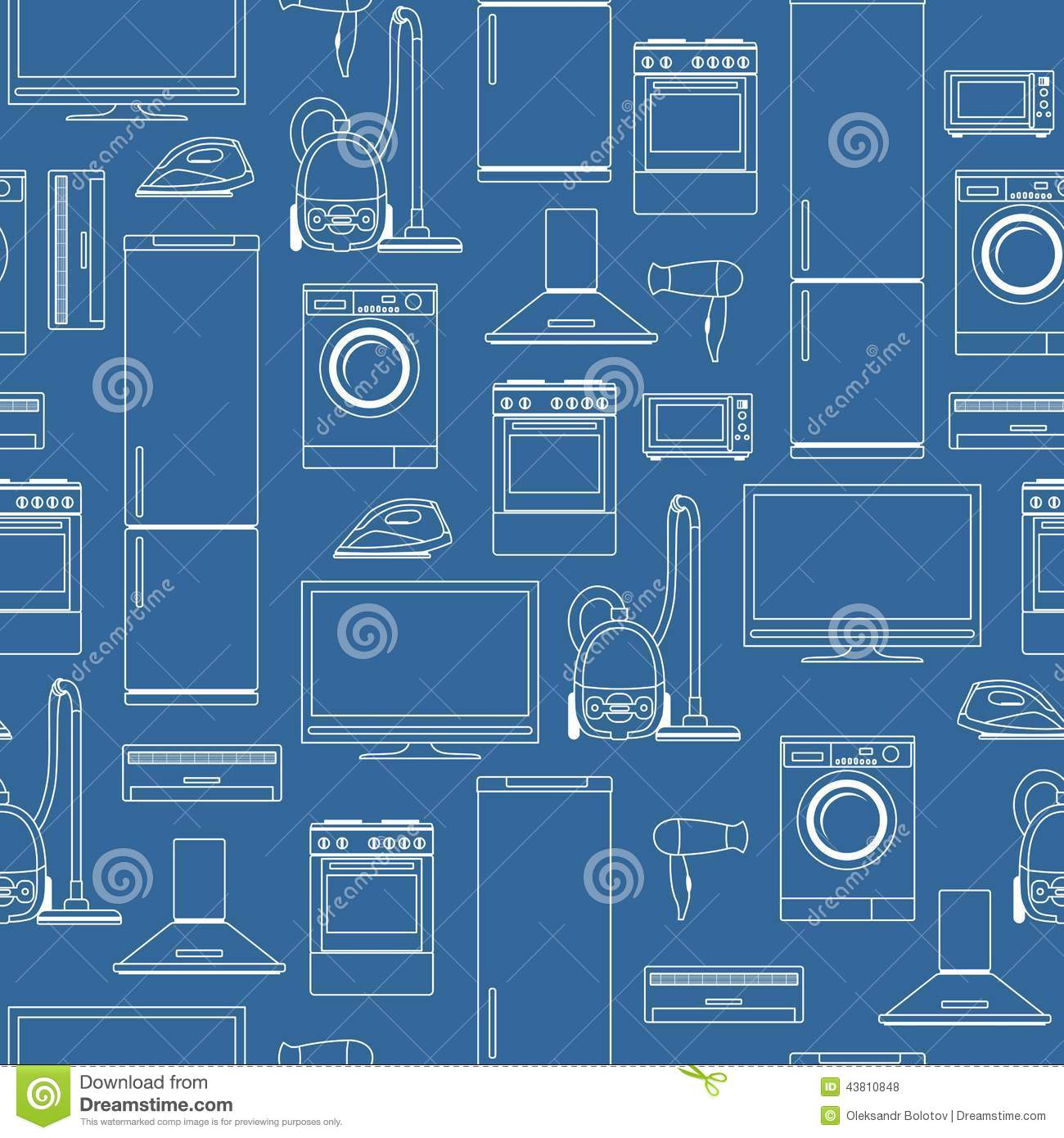 Household Appliances Seamless Background Stock Vector Image 43810848