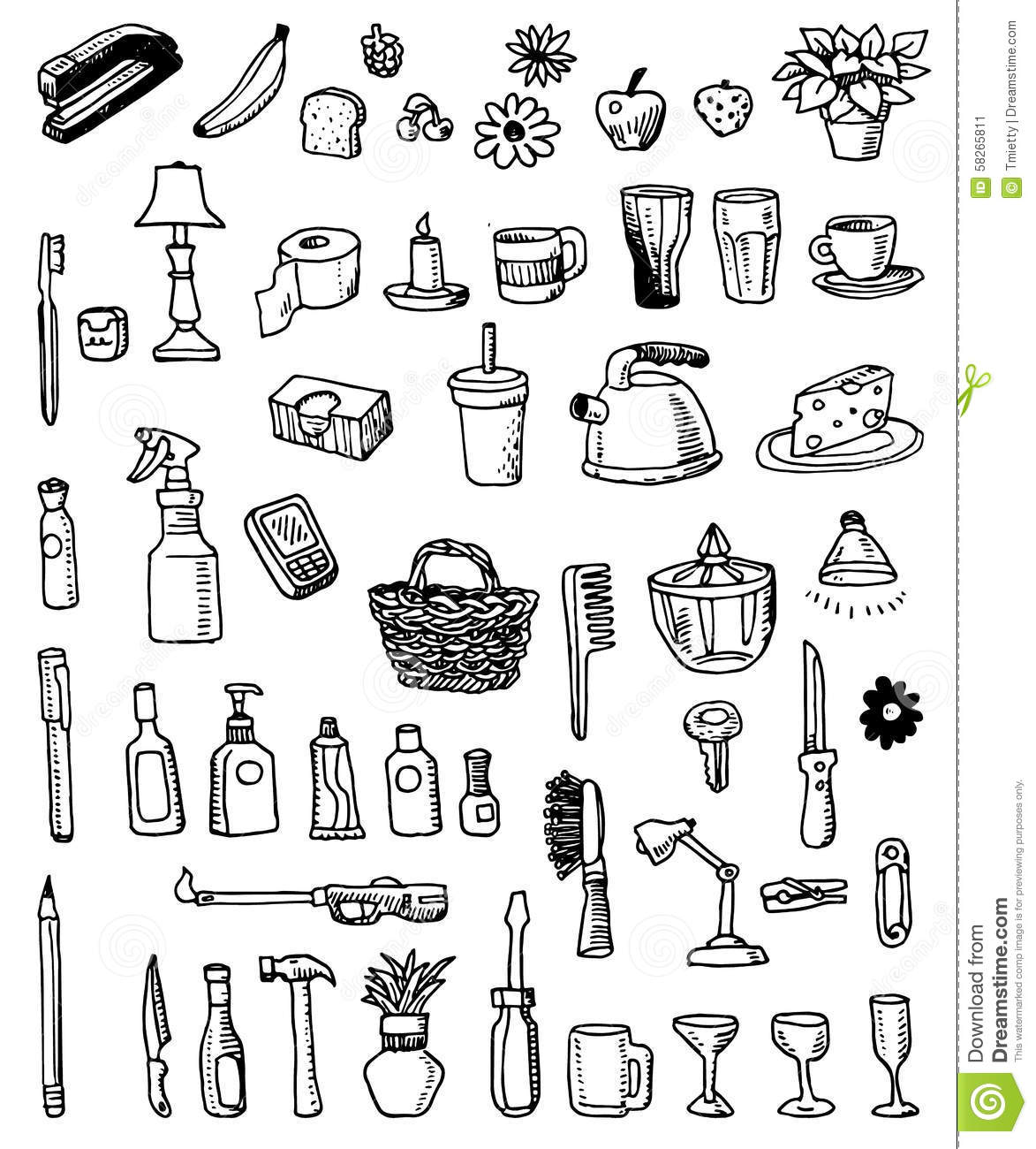 Household Doodle Items Stock Vector Illustration Of Apple