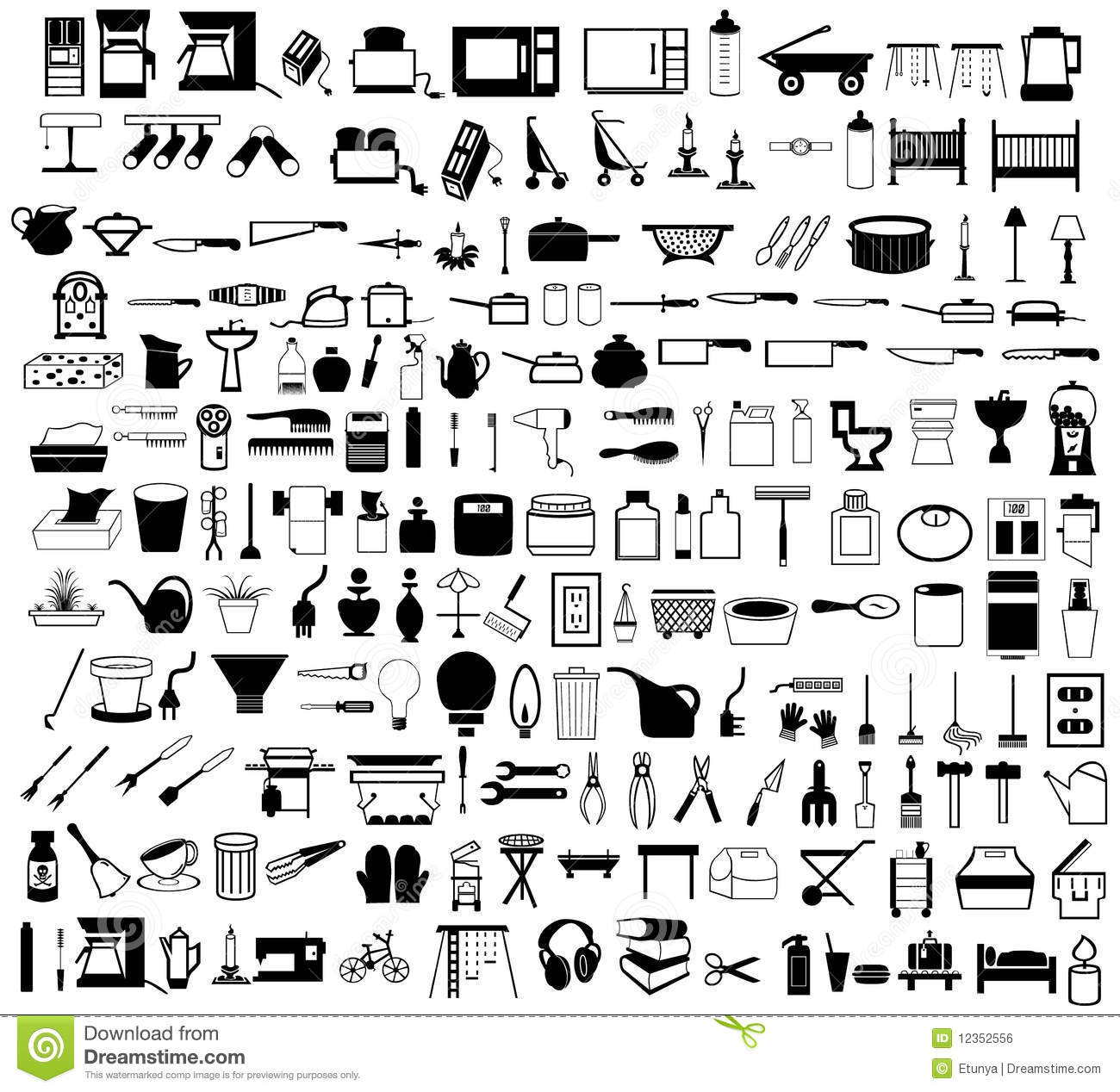 Household Items Set Stock Vector Illustration Of Domestic