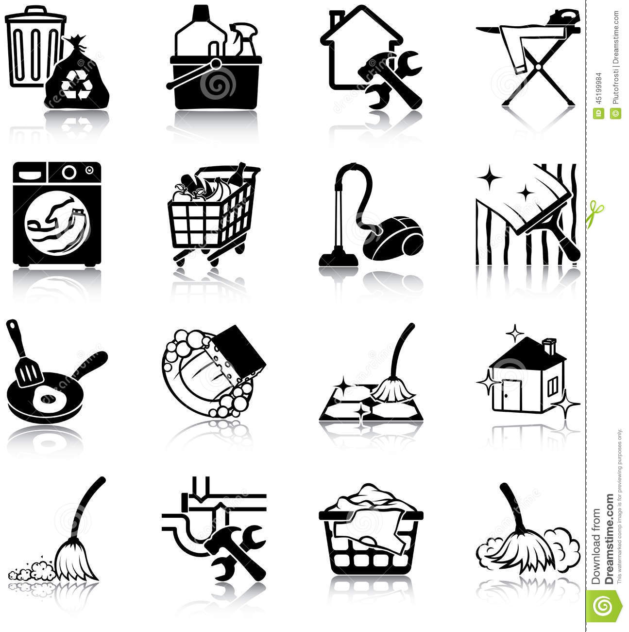 Housekeeping Icons Stock Vector Illustration Of