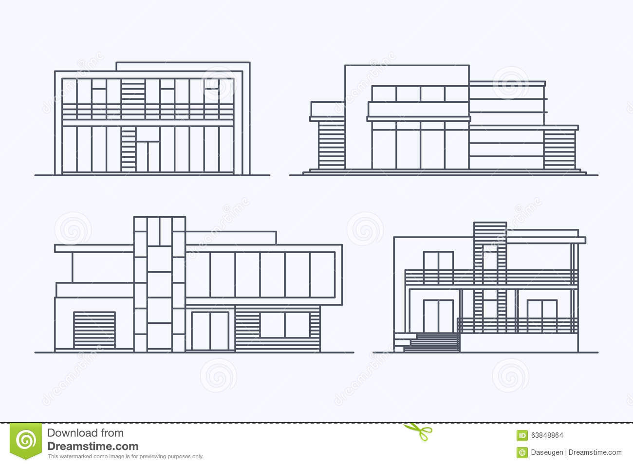 Houses Linear 7 Stock Vector Illustration Of Facade