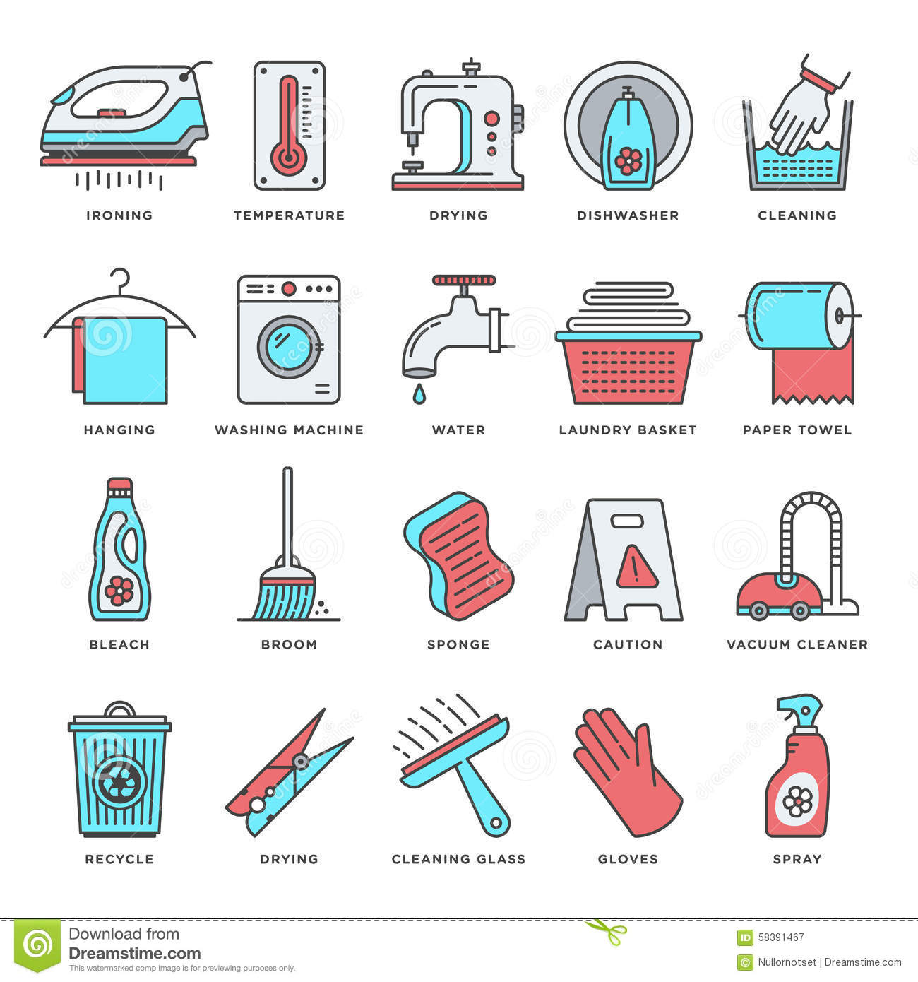 Housework And Cleaning Flat Line Icon Set Stock Vector