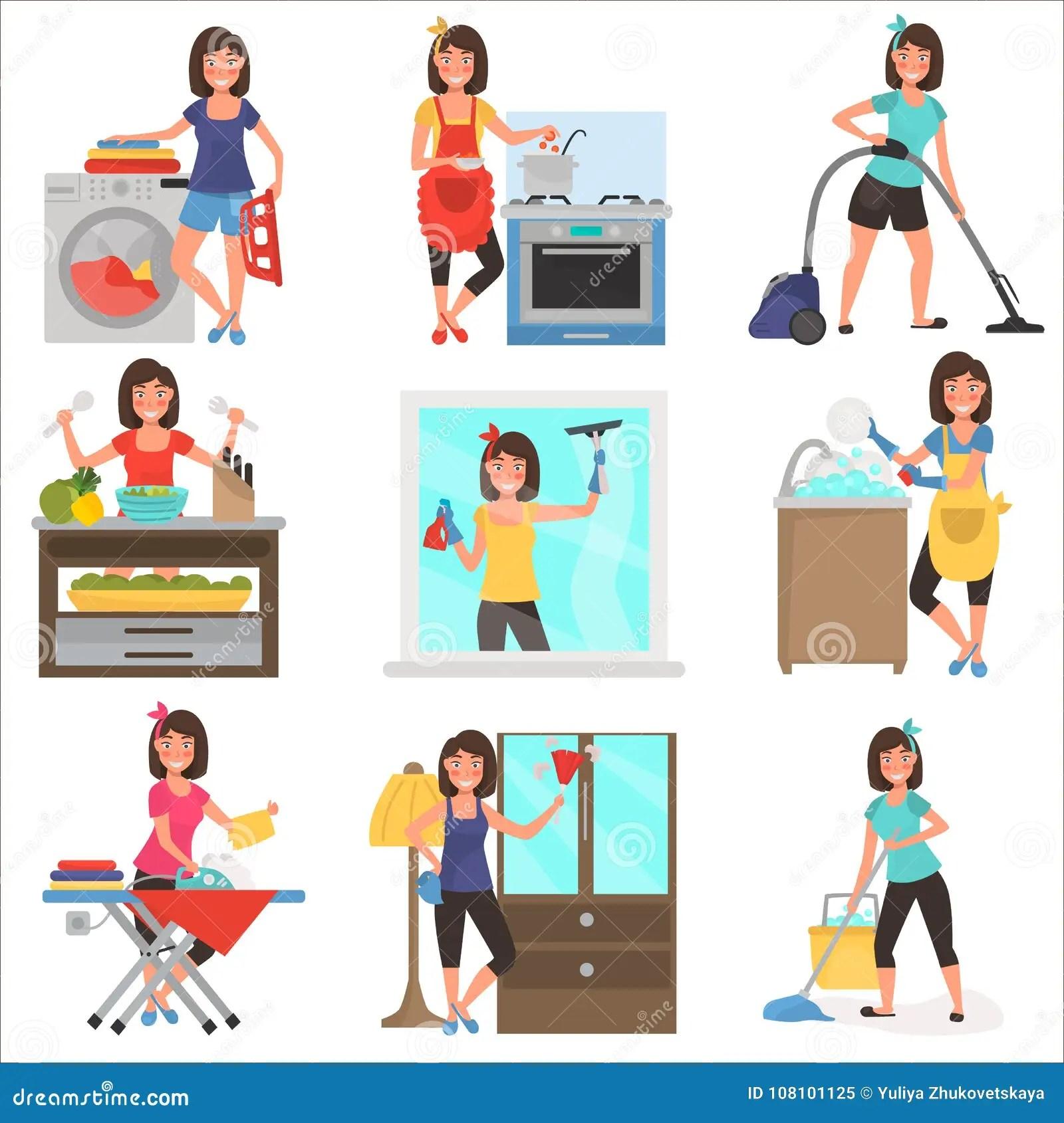 Housework At Home Color Flat Illustration Set Stock